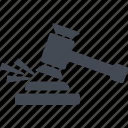 court, crime, hammer, verdict icon