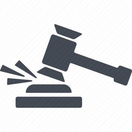 court, crime, hammer, verdict icon