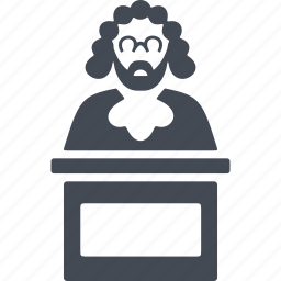 crime, judge, law, tribune icon