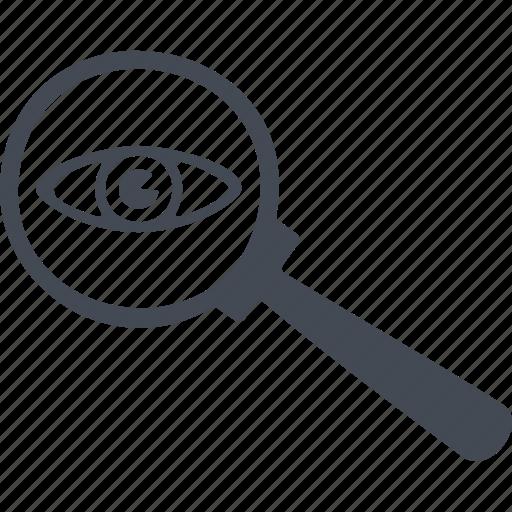 crime, eye, magnifier, search icon