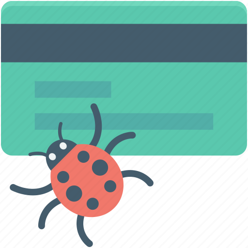 atm card, bug, bug fix, credit card, credit card protection icon