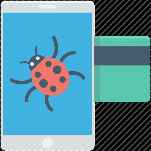 atm card, error, internet bug, mobile banking, online banking icon