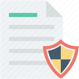document, file protection, file security, protection, shield icon