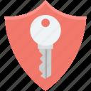 access, key, lock, protection shield, shield