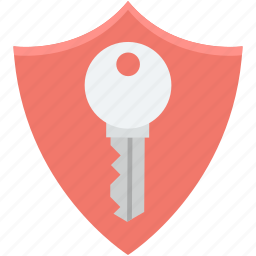 access, key, lock, protection shield, shield icon