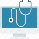 first aid, medical, monitor, online aid, stethoscope icon