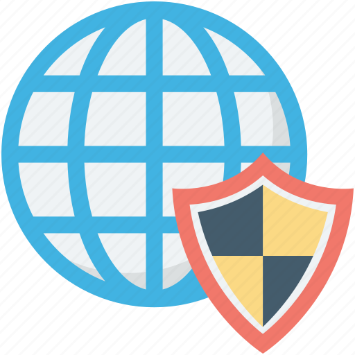 globe security, international security, shield, universal security, worldwide icon