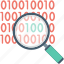 binary code, binary number, digital lock, magnifier, security system icon