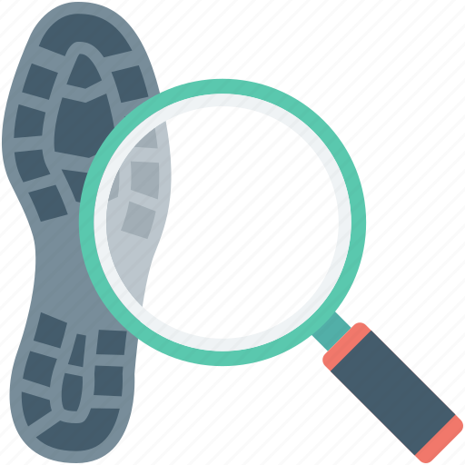 crime, investigation, magnifier, shoe print identity, shoeprint icon