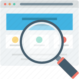 magnifying, search web, web content, web page, wireframe icon