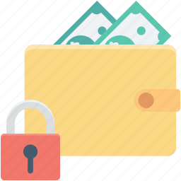 lock, purse, secure money, wallet, wallet protection icon