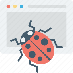 bug, insect, ladybird, web error, webpage icon