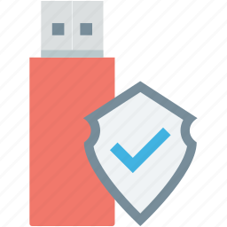 data protection, data security, flash drive, shield, usb protection icon