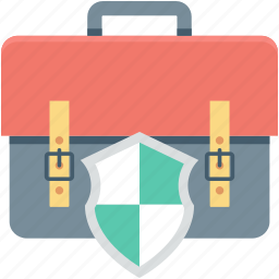 bag, bag safety, briefcase protection, protection, shield icon