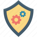 cog, digital security, digital system, shield protection shield icon