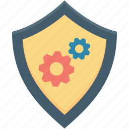 cog, digital security, digital system, shield protection shield icon