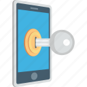 data security, key, mobile phone, mobile security, phone safety icon