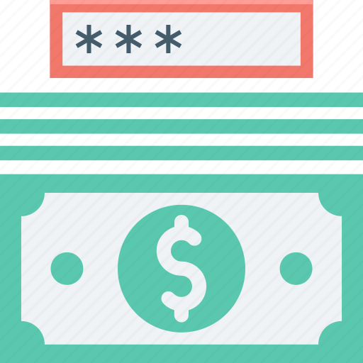dollar, locker, money protection, passcode, password icon