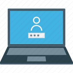 laptop login, login screen, screen lock, user account, user privacy icon