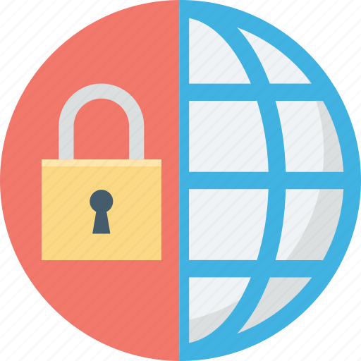 digital security, lock, lock graph, pie graph, protect graph icon