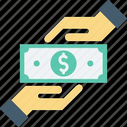 cash, corruption, giving money, money handling, payment icon