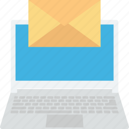 electronic mail, email, inbox, laptop, online icon