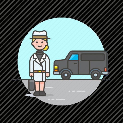 crime, detective, investigator, police, undercover, van, vehicle, woman icon