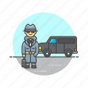crime, detective, investigator, man, police, undercover, van, vehicle icon