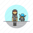 cop, crime, motorcycle, officer, patrol, police, vehicle, woman icon