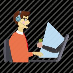 cartoon, centre, client, consultant, desk, logo, online work icon