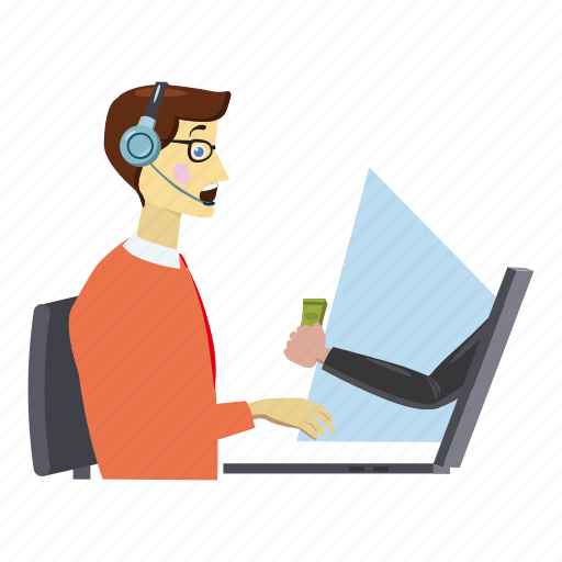 Cartoon Centre Client Consultant Desk Logo Online Work Icon