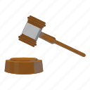 auction, cartoon, gavel, hammer, law, legal, mallet icon