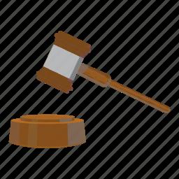 auction, cartoon, gavel, hammer, law, legal, mallet icon