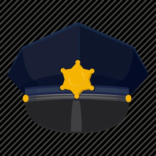 cap, cartoon, cop, hat, logo, police, police cap icon
