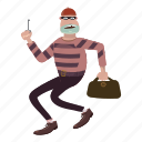 cartoon, crime, jail, person, prison, robber, striped icon