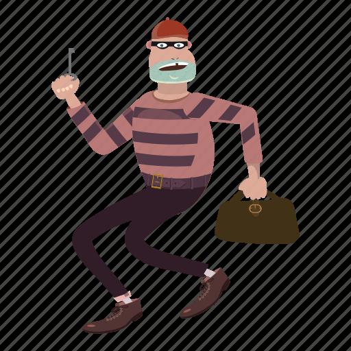 cartoon, crime, jail, person, prison, robber, striped icon