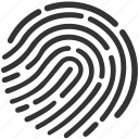 evidence, finger print, proof, secure, security, touch, unlock icon