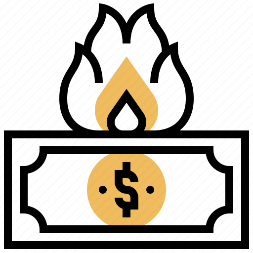 burning, campaigns, cash, insecurity, risky icon