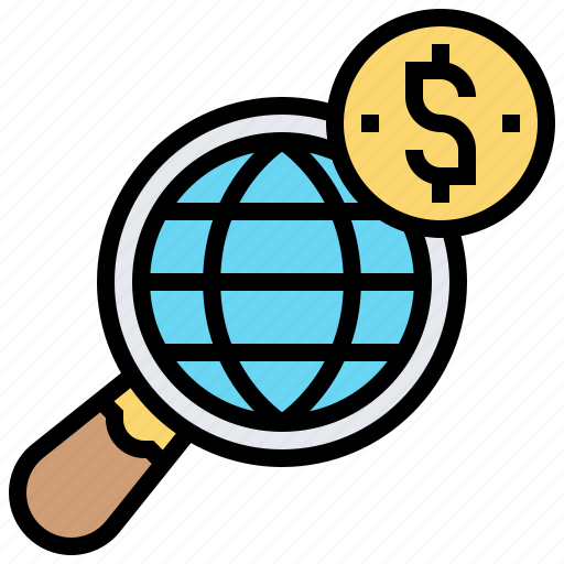 equity, fund, investment, search, worldwide icon