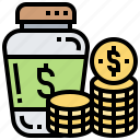 budget, coin, fund, jar, saving icon