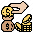 coin, deposit, donation, fundraise, money icon