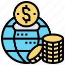 coin, economic, global, money, network icon