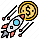 benefit, money, raise, rocket, yield icon