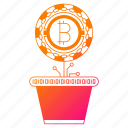 bitcoin, cryptocurrency, digital money, investment, mining, plant icon