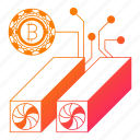 bitcoin, computer, device, hardware, modern, network, technology icon