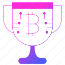 bitcoin, cryptocurrency, cup, digital money, mining, trophy icon