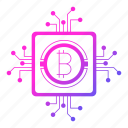 bitcoin, circuit, cryptocurrency, digital money, mining, processor icon
