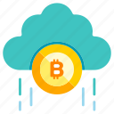 bitcoin, blockchain, cloud, cryptocurrency, currency, digital, technology icon