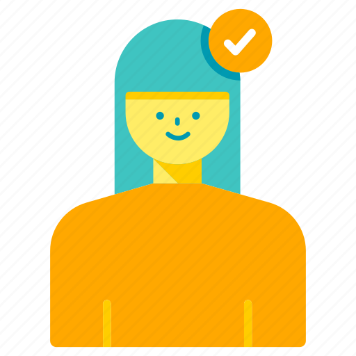 accept, approved, female, profile, user, validation, verified icon