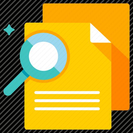 document, evaluation, inspection, magnifier, review, revision, verification icon